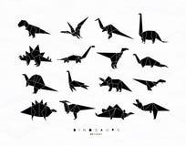 Origami de Dinosaurus réglé noir Image libre de droits