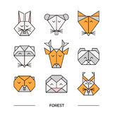 Origami 11 de forêt d'animaux illustration stock