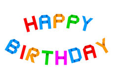 Origami de joyeux anniversaire saluant Image stock