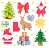 Origami de Noël d'isolement sur le blanc Photographie stock