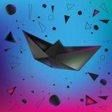 Origami de papel do navio ilustração do vetor