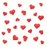 Origami de papel vermelho dos corações, Imagem de Stock
