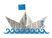 Origami de papier de bateau Photographie stock