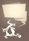 Origami del drago, bolla di carta di discorso, vettore Fotografie Stock Libere da Diritti