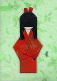 Origami del geisha su verde Immagini Stock Libere da Diritti