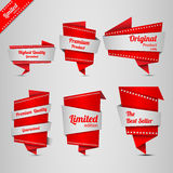 Origami design label set Royalty Free Stock Images