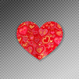 Origami di carta decorati rossi di forma del cuore con ombra illustrazione vettoriale