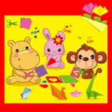 Origami di divertimento, amici animali e origami Immagine Stock Libera da Diritti