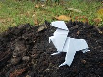 Origami dinosaur. On ground Royalty Free Stock Image