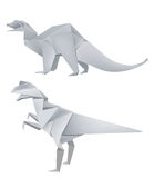 Origami Dinosaur Models. Two different dinosaurs models made of paper; origami models isolated on white background Stock Photo