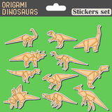 Origami dinosaurs stickers set Royalty Free Stock Image