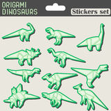 Origami dinosaurs stickers set Stock Images
