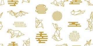 Origami djur Sömlös vektormodell med hare, rävar, uttrar royaltyfri illustrationer