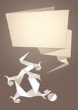 Origami do dragão, bolha de papel do discurso, vetor Fotos de Stock Royalty Free