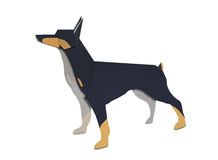 Origami of Dobermann form recycled paper Stock Photos