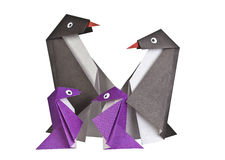 Origami. Document cijfers van pinguïnen Royalty-vrije Stock Foto