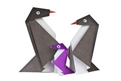 Origami. Document cijfers van pinguïnen Royalty-vrije Stock Foto's
