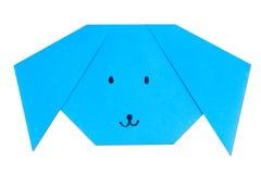 Origami dog. Origami blue dog on white background Royalty Free Stock Images