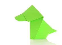 Origami dog. Green origami dog on white background Stock Photos