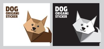 Origami dog sticker for pet store and for dog shows. Web stickers. Template for catalog with space for text. Origami dog sticker for pet store and for dog shows stock illustration