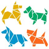 Origami Dogs Icon Set. Vector Origami Dogs Icon Set. Abstract Low Poly Pet Dog Breed Sign Silhouette Isolated on White. Freehand Drawn Paper Folding Art Emblem Royalty Free Stock Photo