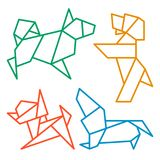 Origami Dogs Icon Set 1 Royalty Free Stock Images
