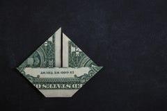 Origami dolara łódź Fotografia Royalty Free