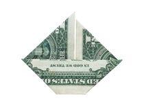 Origami dolara łódź Obrazy Royalty Free