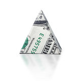 Origami dollar pyramid. Money symbol business on a white background Royalty Free Stock Photography