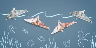 Origami Dolphin from banknotes Royalty Free Stock Photos