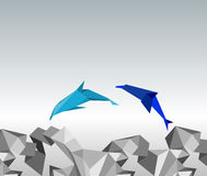 Origami dolphins. Illustration of paper dolphins in a jump Stock Photos