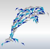 Origami dolphins. Royalty Free Stock Images