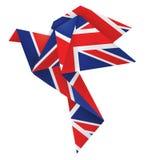 Origami dove with English flag. Stock Photos