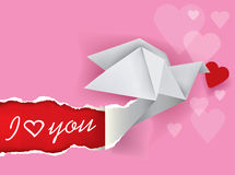Origami dove message of love Royalty Free Stock Images