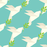 Origami dove on pattern Royalty Free Stock Photography