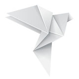 Origami dove. Origami white paper dove, vector isolated 3d realistic object Stock Images