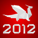 Origami dragon 2012. Illustration of an origami dragon figure with red background Stock Image