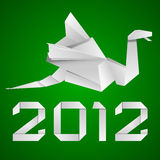 Origami dragon 2012. Illustration of an origami dragon figure with green background stock illustration
