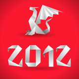 Origami Dragon with 2012 Year. Element for design, vector illustration Stock Photos