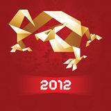 Origami Dragon, 2012 Year - Gold&Red.  Royalty Free Stock Images