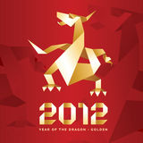 Origami Dragon, 2012 Year - Red&Gold.  Vector Illustration