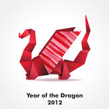 Origami dragon. Made of pieces of red and colour paper. EPS10 royalty free illustration