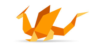 Origami Dragon. Dragon concept. Origami collection part vector illustration