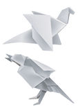 Origami_dragon_bird. Illustration of folded paper models dragon and bird Stock Photos