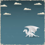 Origami Dragon on grunge background Royalty Free Stock Images