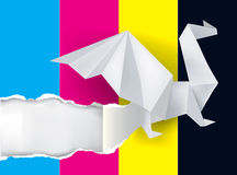 Origami Dragon and print colors. Royalty Free Stock Photo