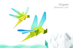 Origami dragonflies Royalty Free Stock Photo