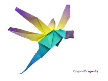 Origami dragonfly stock photography