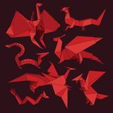 Origami dragons Stock Images
