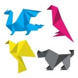 Origami in drukinkten Stock Foto's